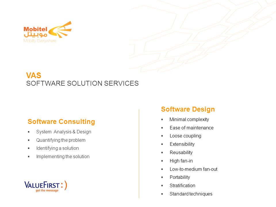 VAS SOFTWARE SOLUTION SERVICES Software Consulting System Analysis & Design Quantifying the problem Identifying a solution Implementing the solution S