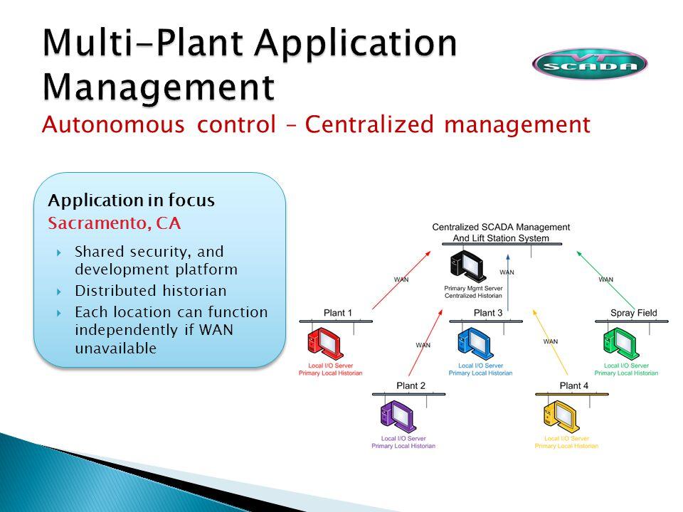 Autonomous control – Centralized management Application in focus Sacramento, CA Shared security, and development platform Distributed historian Each l