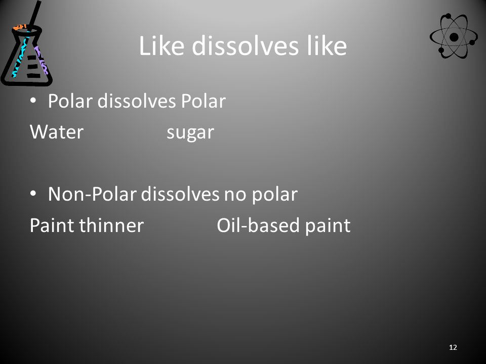 Like dissolves like Polar dissolves Polar Water sugar Non-Polar dissolves no polar Paint thinner Oil-based paint 12
