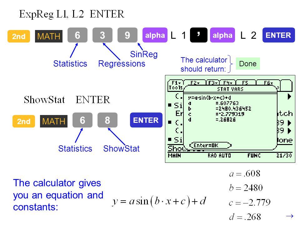 2nd MATH 68 StatisticsShowStat ENTER The calculator gives you an equation and constants: 2nd MATH 63 StatisticsRegressions 9 SinReg alpha L 1 alpha L