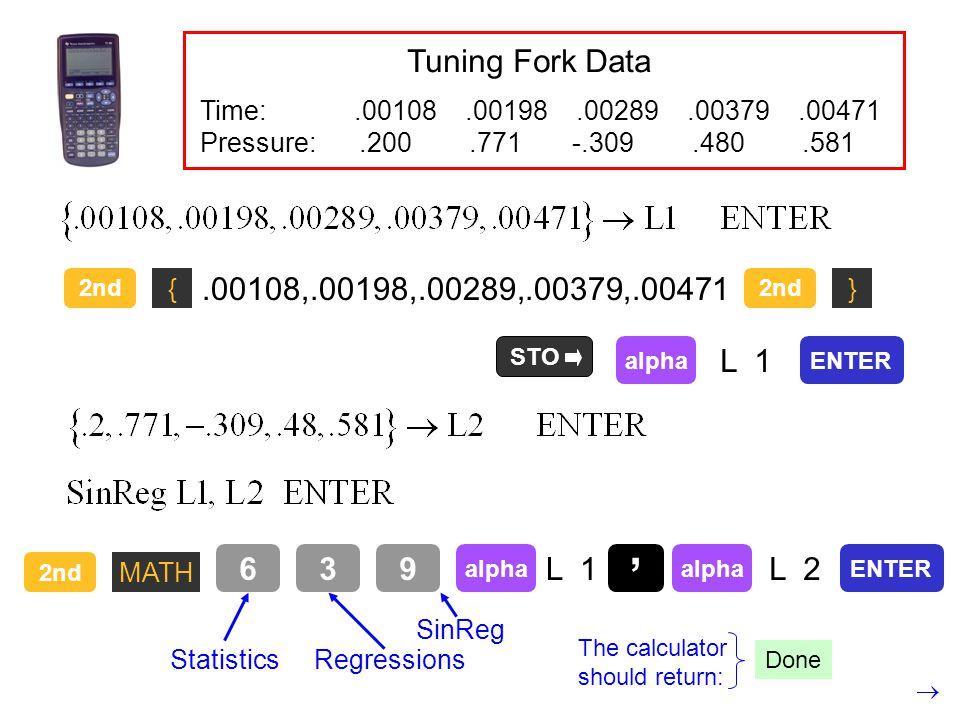 Time:.00108.00198.00289.00379.00471 Pressure:.200.771 -.309.480.581 2nd {.00108,.00198,.00289,.00379,.00471 } STO alpha L 1 ENTER 2nd MATH 63 Statisti