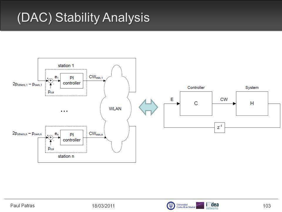 18/03/2011 (DAC) Stability Analysis Paul Patras 103