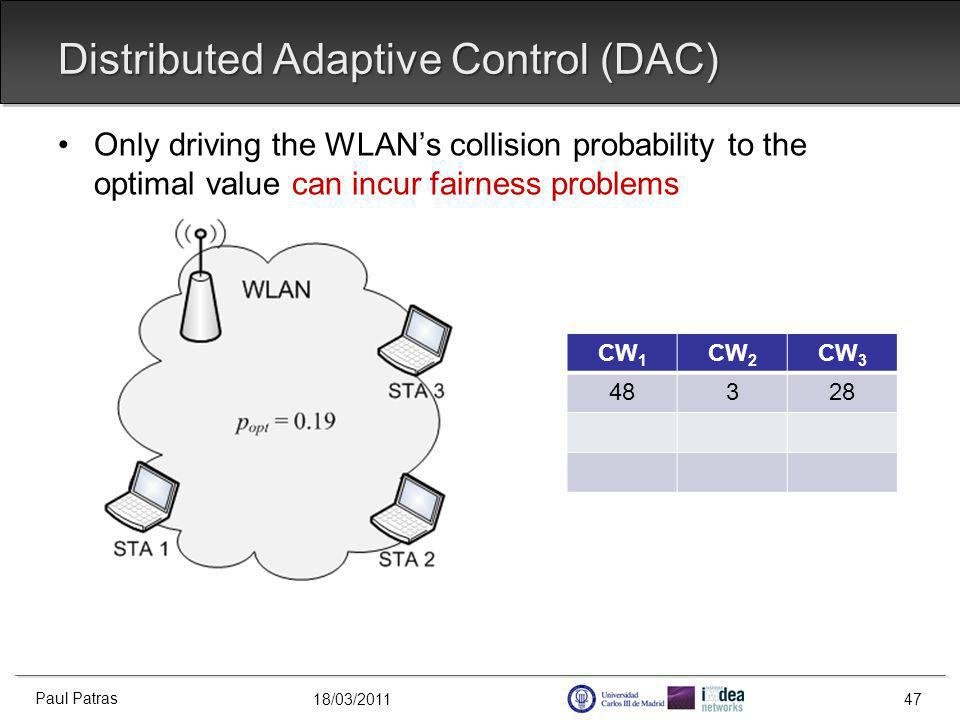 18/03/2011 Distributed Adaptive Control (DAC) Paul Patras 47 Only driving the WLANs collision probability to the optimal value can incur fairness problems CW 1 CW 2 CW 3 48328