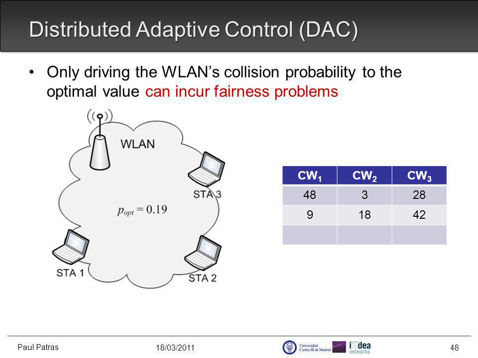 18/03/2011 Distributed Adaptive Control (DAC) Paul Patras 48 Only driving the WLANs collision probability to the optimal value can incur fairness problems CW 1 CW 2 CW 3 48328 91842