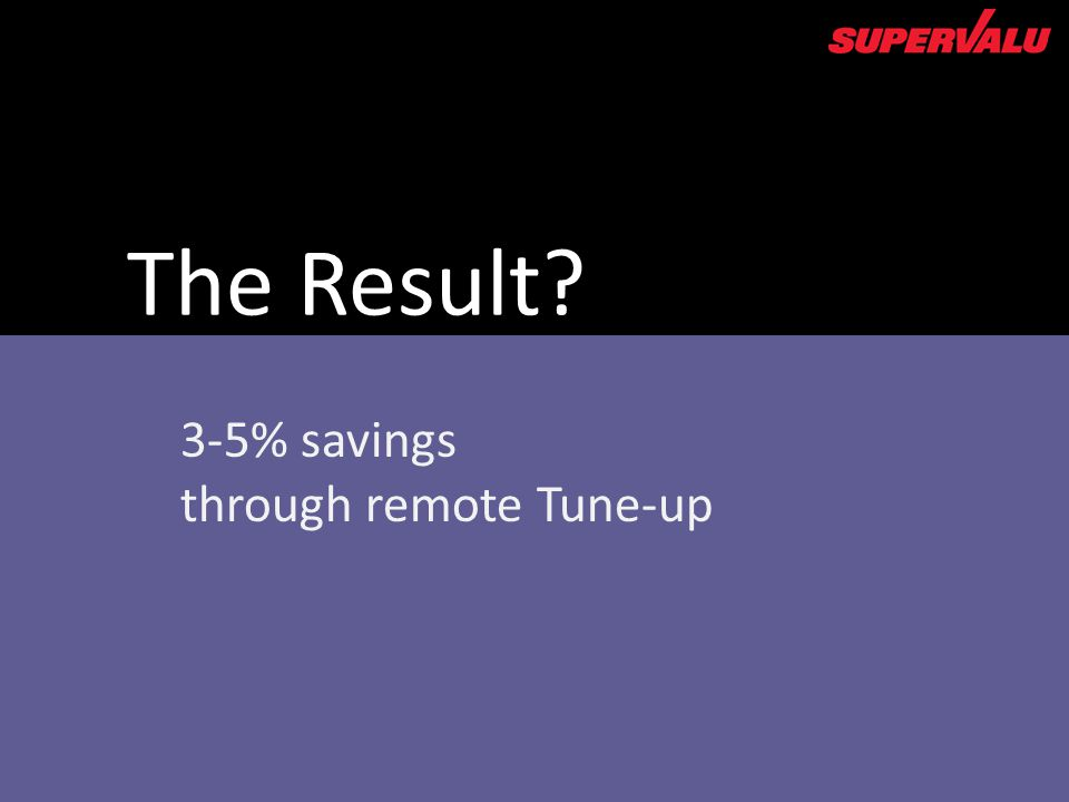 3-5% savings through remote Tune-up The Result