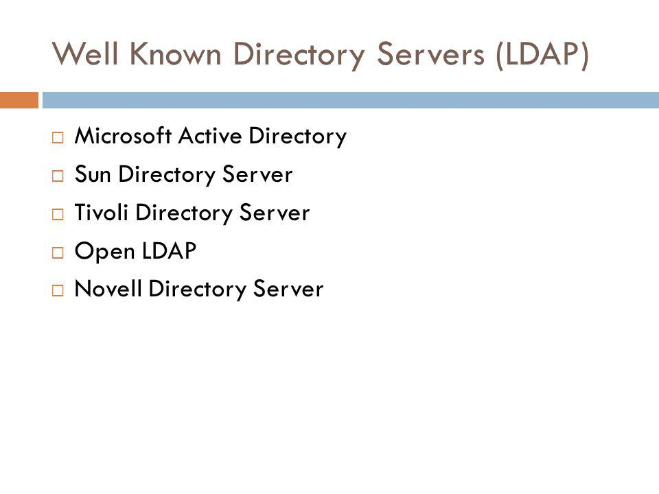 Well Known Directory Servers (LDAP) Microsoft Active Directory Sun Directory Server Tivoli Directory Server Open LDAP Novell Directory Server