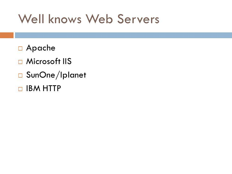 Well knows Web Servers Apache Microsoft IIS SunOne/Iplanet IBM HTTP