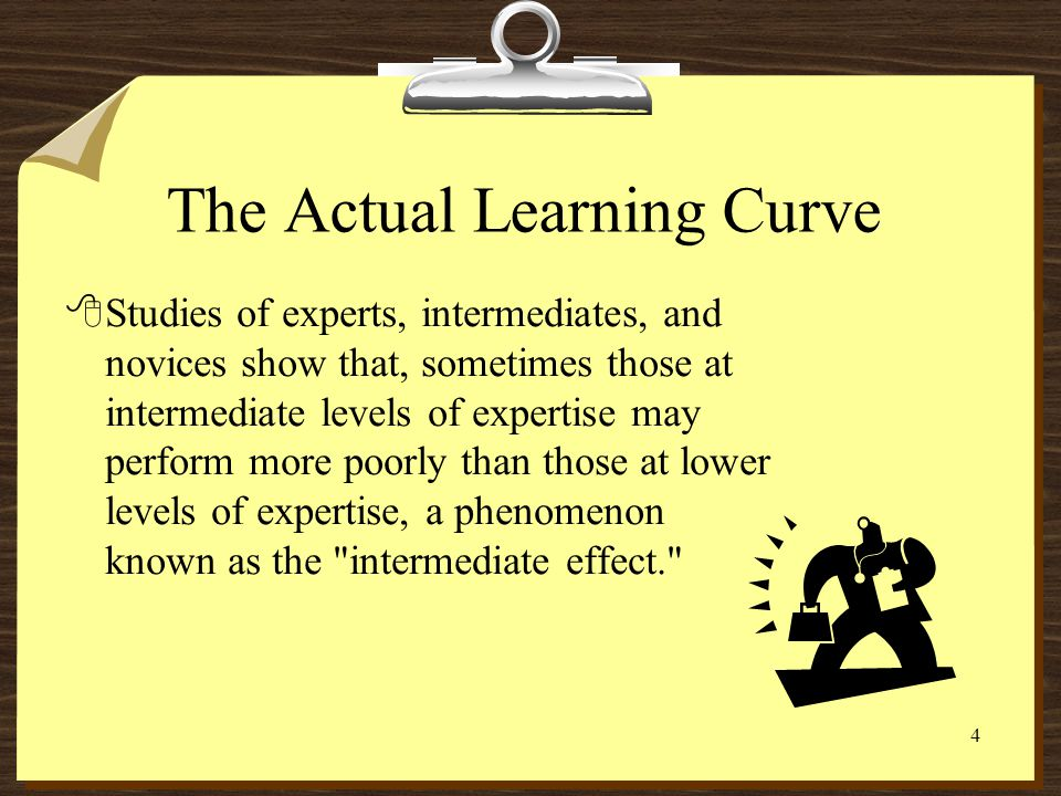 3 The Assumed Learning Curve 8Its often assumed that the novice becomes an expert by a steady, gradual accumulation of knowledge and fine-tuning of sk