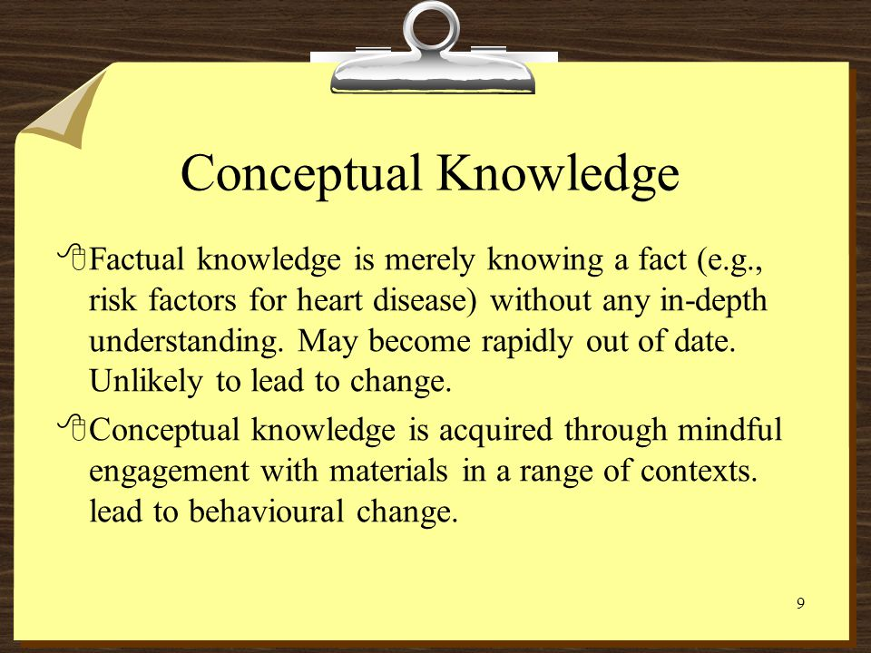 8 The Structure of Memory 8Short-term memory (working memory) 8Long-term memory 8Conceptual knowledge 8Procedural knowledge