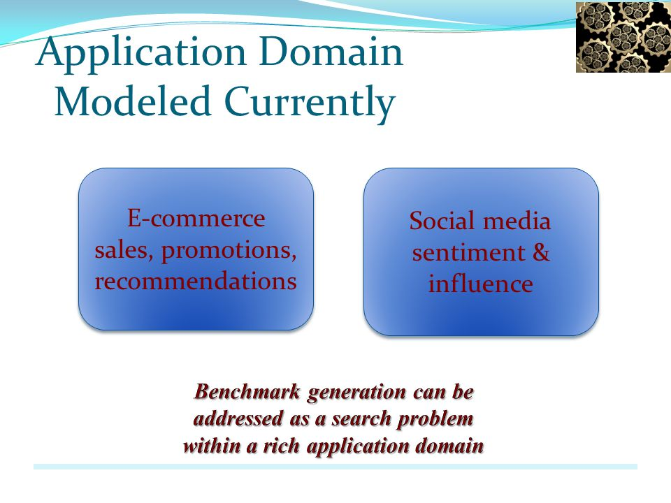Application Domain Modeled Currently E-commerce sales, promotions, recommendations Social media sentiment & influence Social media sentiment & influen