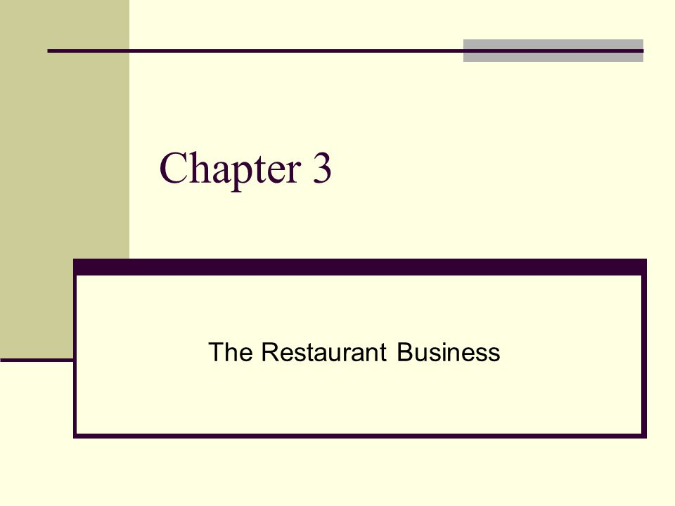 THE RESTAURANT BUSINESS The word restaurant covers a broad range of types of operations, some of which students may be unaware of The term food service is even more far reaching and will be more clearly defined in later chapters The most important thing for students to take away from this module is how different restaurant types are classified and characterized