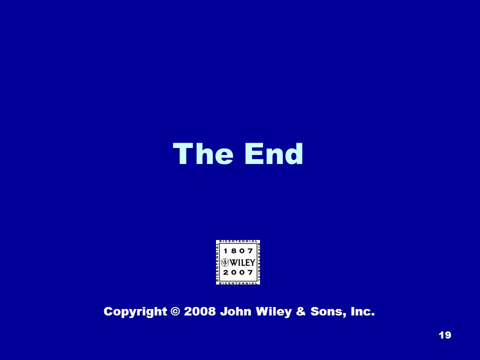 19 The End Copyright © 2008 John Wiley & Sons, Inc.
