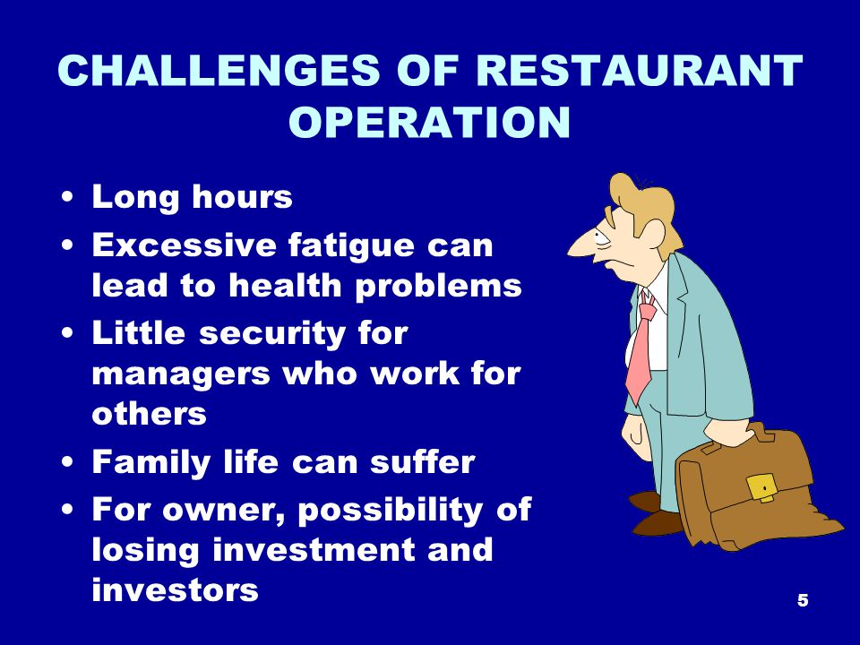 5 CHALLENGES OF RESTAURANT OPERATION Long hours Excessive fatigue can lead to health problems Little security for managers who work for others Family life can suffer For owner, possibility of losing investment and investors