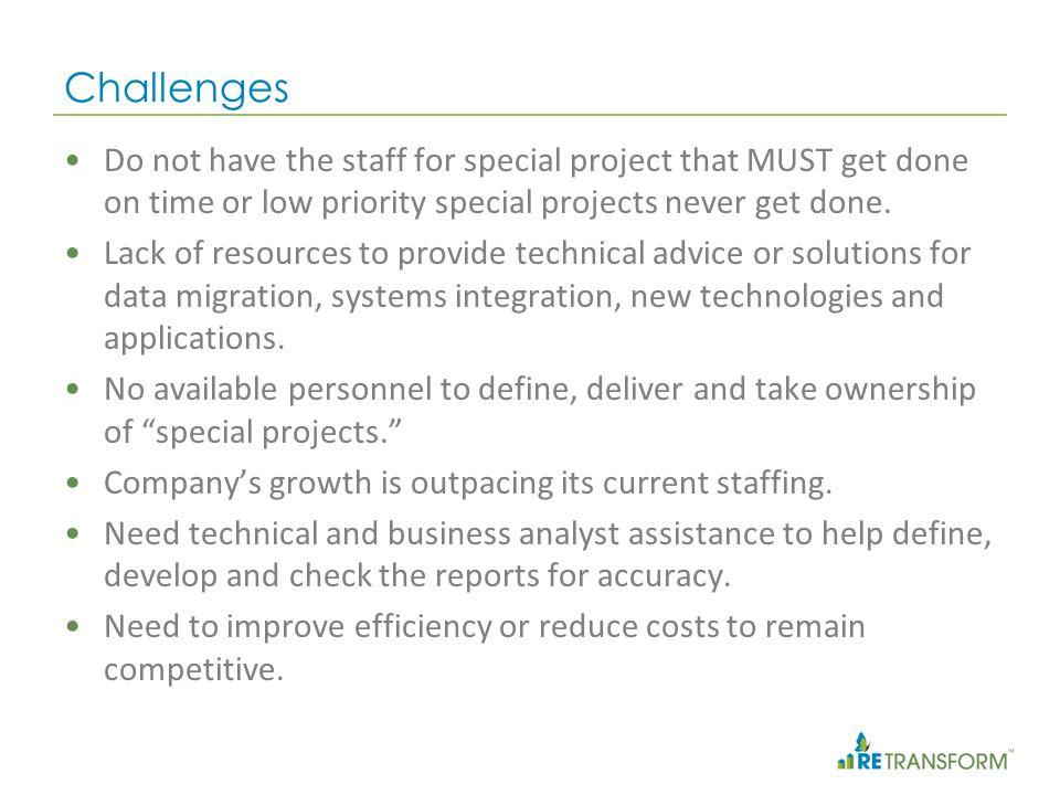 RETransform Solutions RET Technology Development & Support Services RET Business Management Services