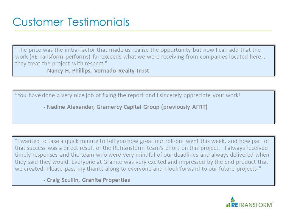 Customers who put their faith in RETransform -