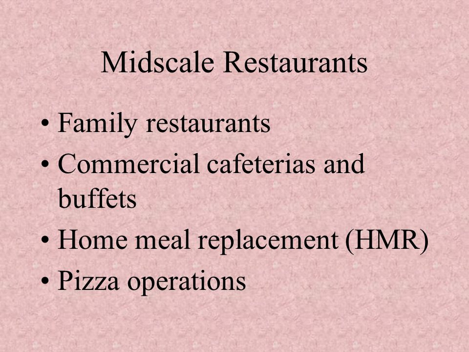 Midscale Restaurants Family restaurants Commercial cafeterias and buffets Home meal replacement (HMR) Pizza operations