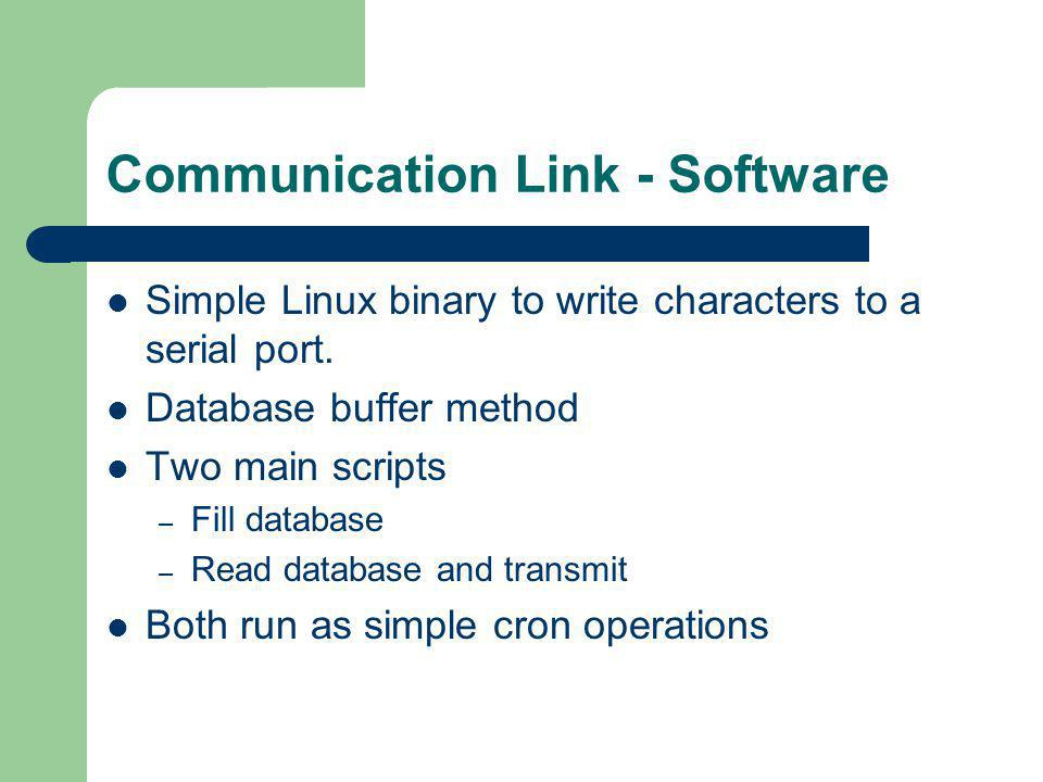 Communication Link - Software Simple Linux binary to write characters to a serial port.