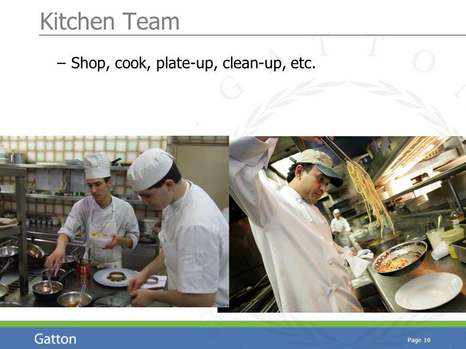 Page 10 Kitchen Team – Shop, cook, plate-up, clean-up, etc.