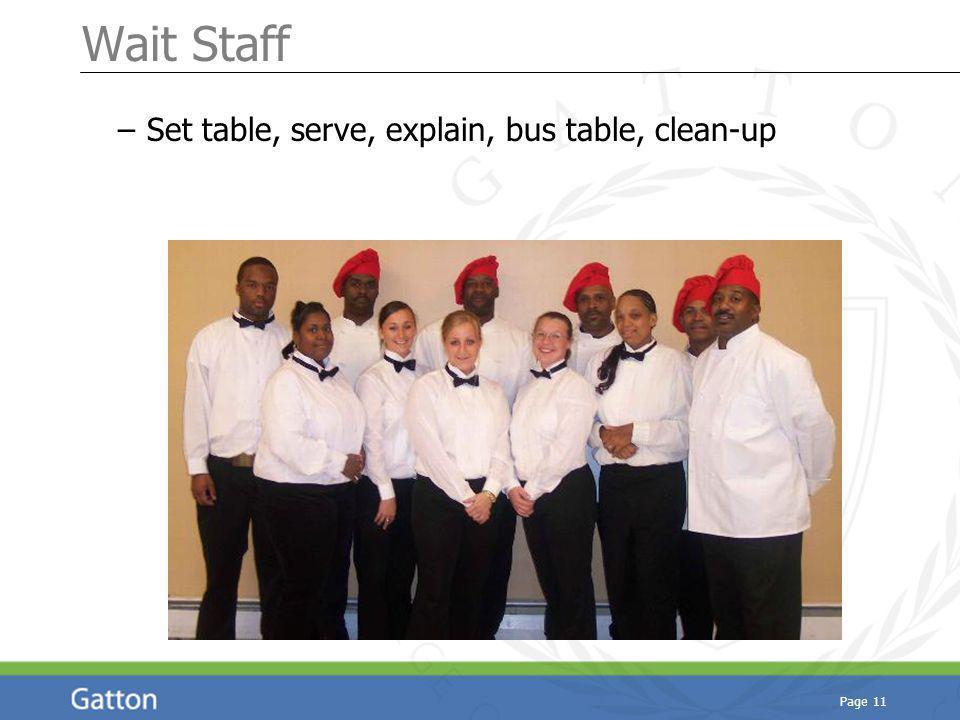 Page 11 Wait Staff – Set table, serve, explain, bus table, clean-up