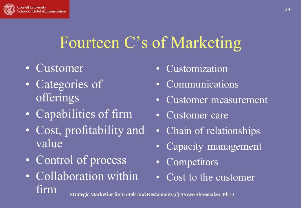 Strategic Marketing for Hotels and Restaurants (c) Stowe Shoemaker, Ph.D 23 Fourteen Cs of Marketing Customer Categories of offerings Capabilities of