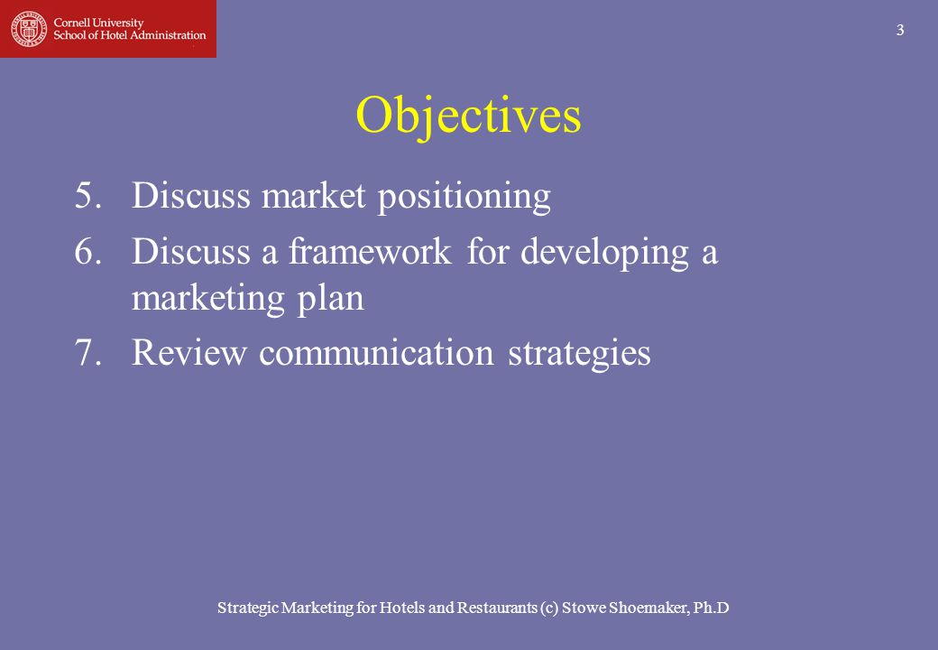 Strategic Marketing for Hotels and Restaurants (c) Stowe Shoemaker, Ph.D 14 Review Basics of Marketing