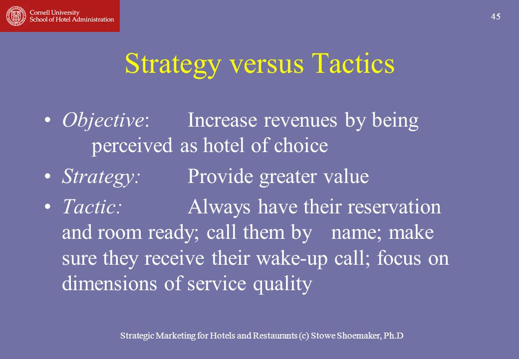 Strategic Marketing for Hotels and Restaurants (c) Stowe Shoemaker, Ph.D 45 Strategy versus Tactics Objective:Increase revenues by being perceived as