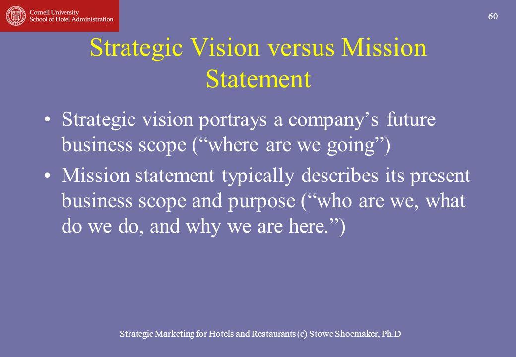 Strategic Marketing for Hotels and Restaurants (c) Stowe Shoemaker, Ph.D 60 Strategic Vision versus Mission Statement Strategic vision portrays a comp
