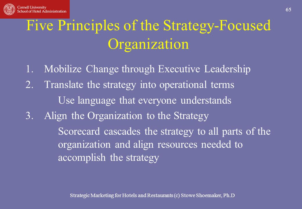 Strategic Marketing for Hotels and Restaurants (c) Stowe Shoemaker, Ph.D 65 Five Principles of the Strategy-Focused Organization 1.Mobilize Change thr