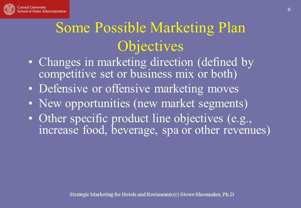 Strategic Marketing for Hotels and Restaurants (c) Stowe Shoemaker, Ph.D 40 Reasons for Marketing Myopia 4.Too much faith in mass production and in the advantages of rapidly declining unit costs as output rises 5.Preoccupation with a product that lends itself to carefully controlled scientific experimentation, improvement, and manufacturing cost reduction.