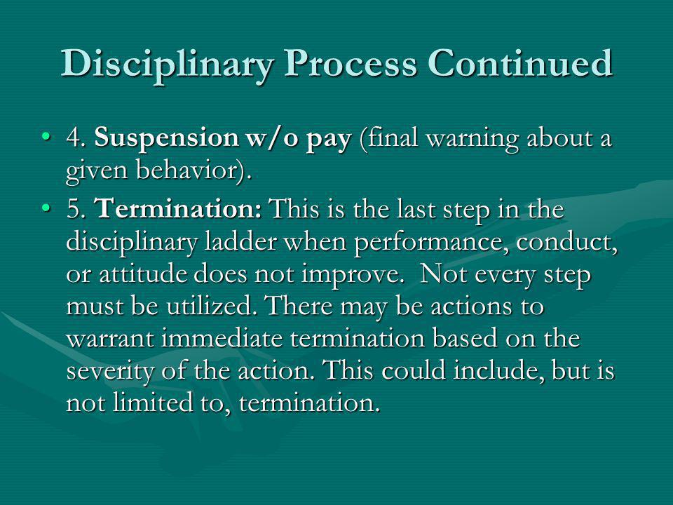 Disciplinary Process Continued 4.Suspension w/o pay (final warning about a given behavior).4.