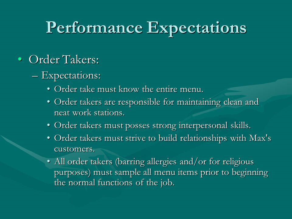 Performance Expectations Order Takers:Order Takers: –Expectations: Order take must know the entire menu.Order take must know the entire menu.
