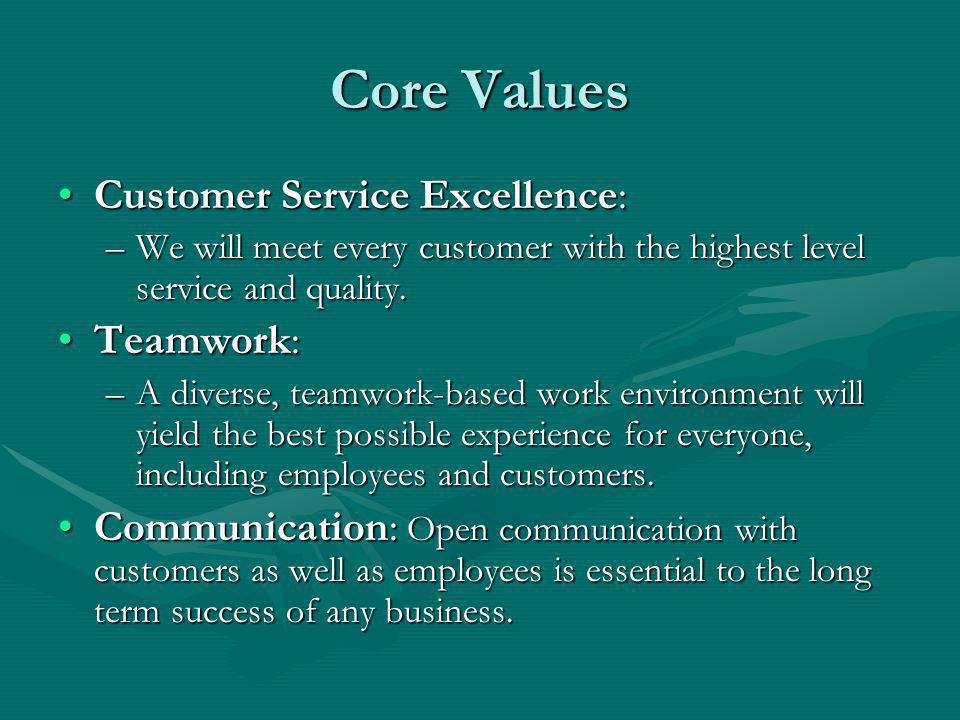 Core Values Customer Service Excellence:Customer Service Excellence: –We will meet every customer with the highest level service and quality.