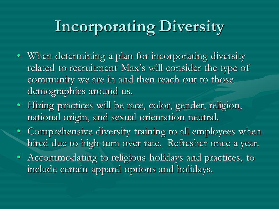 Incorporating Diversity When determining a plan for incorporating diversity related to recruitment Maxs will consider the type of community we are in and then reach out to those demographics around us.When determining a plan for incorporating diversity related to recruitment Maxs will consider the type of community we are in and then reach out to those demographics around us.