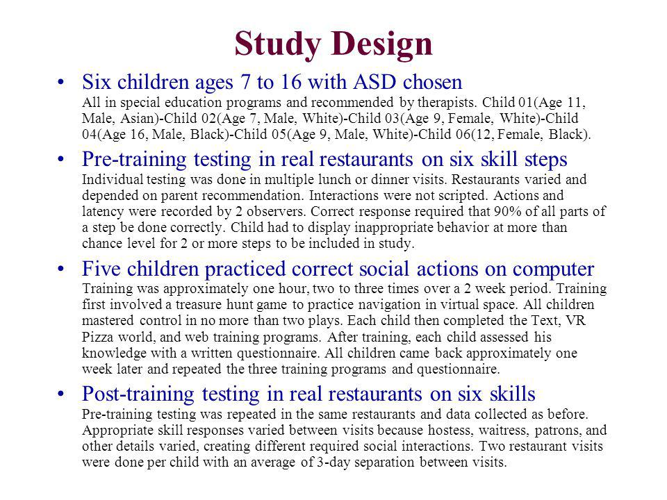 Study Design Six children ages 7 to 16 with ASD chosen All in special education programs and recommended by therapists. Child 01(Age 11, Male, Asian)-