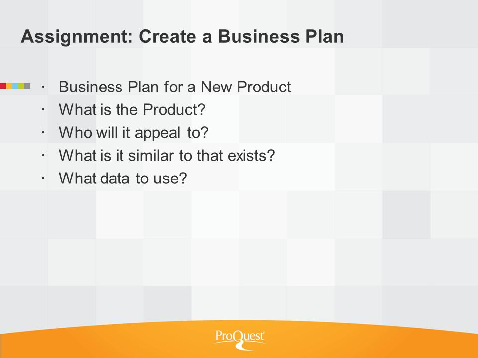 Assignment: Create a Business Plan Business Plan for a New Product What is the Product.