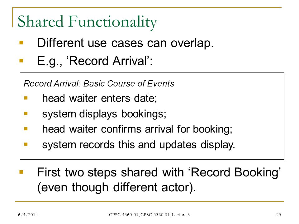 6/4/2014 CPSC-4360-01, CPSC-5360-01, Lecture 3 25 Shared Functionality Different use cases can overlap.