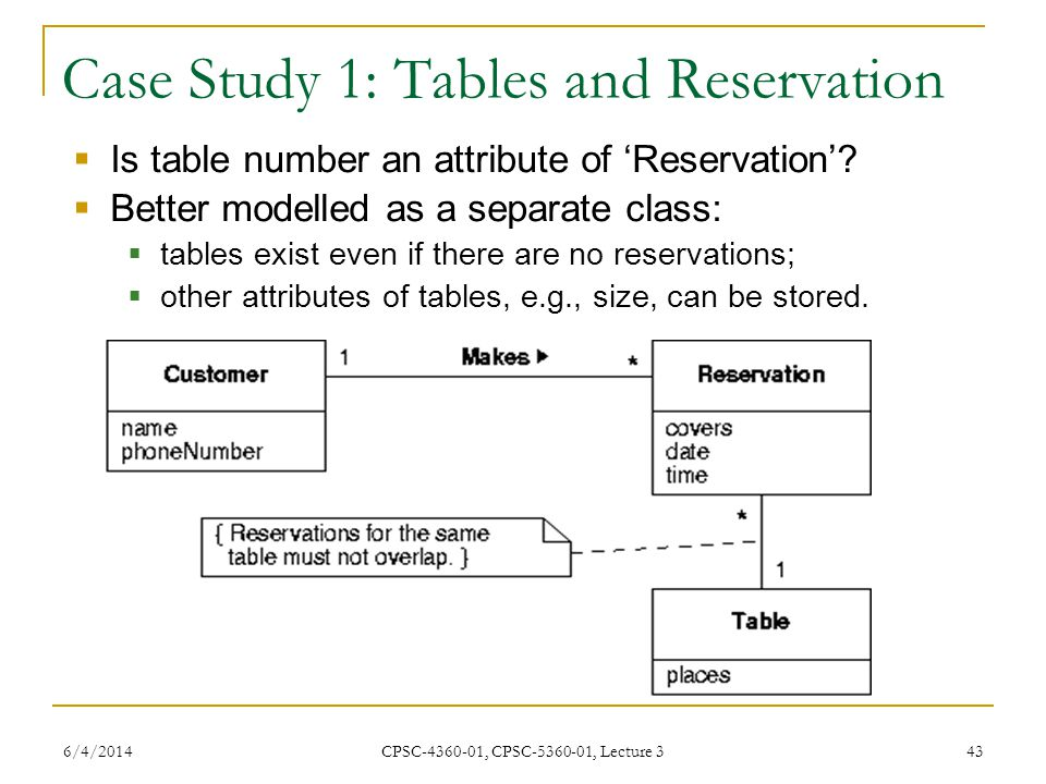 6/4/2014 CPSC-4360-01, CPSC-5360-01, Lecture 3 43 Case Study 1: Tables and Reservation Is table number an attribute of Reservation.