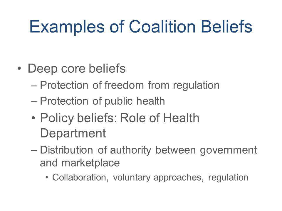 Examples of Coalition Beliefs Deep core beliefs –Protection of freedom from regulation –Protection of public health Policy beliefs: Role of Health Dep