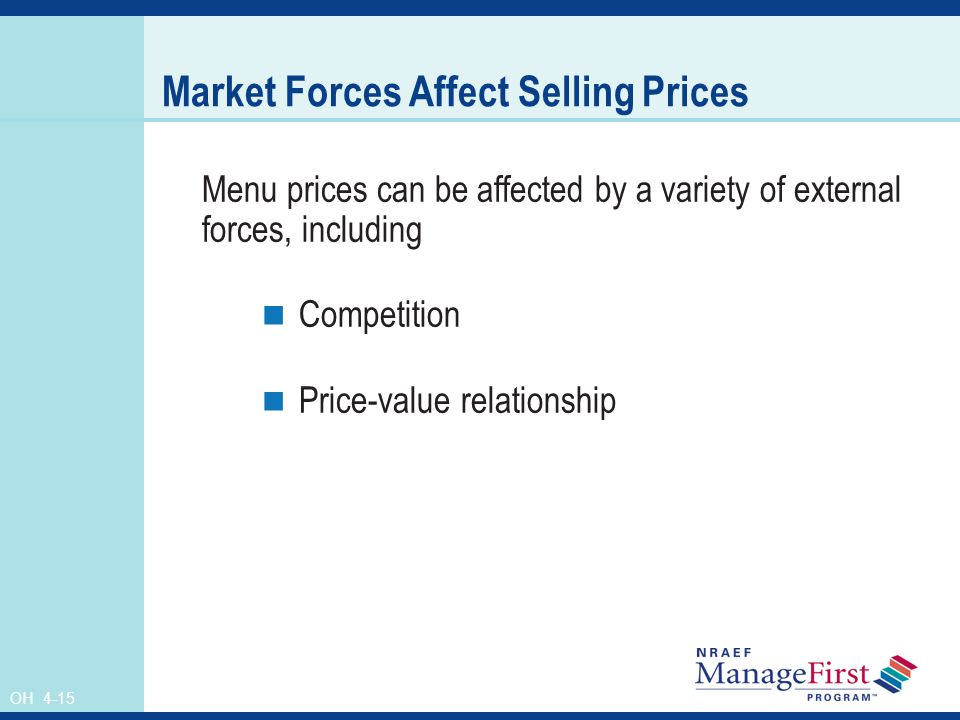 OH 4-15 Market Forces Affect Selling Prices Menu prices can be affected by a variety of external forces, including Competition Price-value relationshi