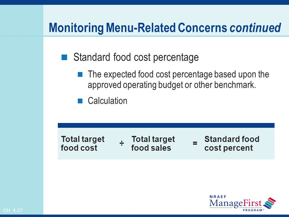OH 4-27 Monitoring Menu-Related Concerns continued Standard food cost percentage The expected food cost percentage based upon the approved operating b