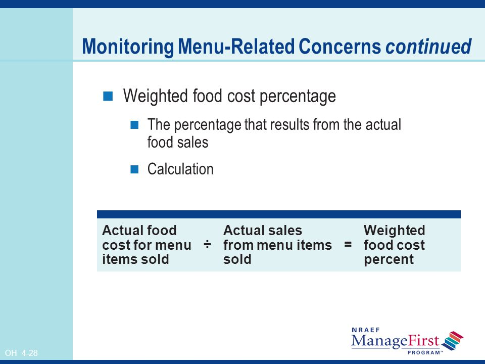 OH 4-28 Monitoring Menu-Related Concerns continued Weighted food cost percentage The percentage that results from the actual food sales Calculation Ac