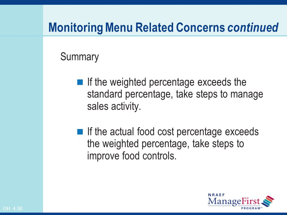 OH 4-30 Monitoring Menu Related Concerns continued Summary If the weighted percentage exceeds the standard percentage, take steps to manage sales acti