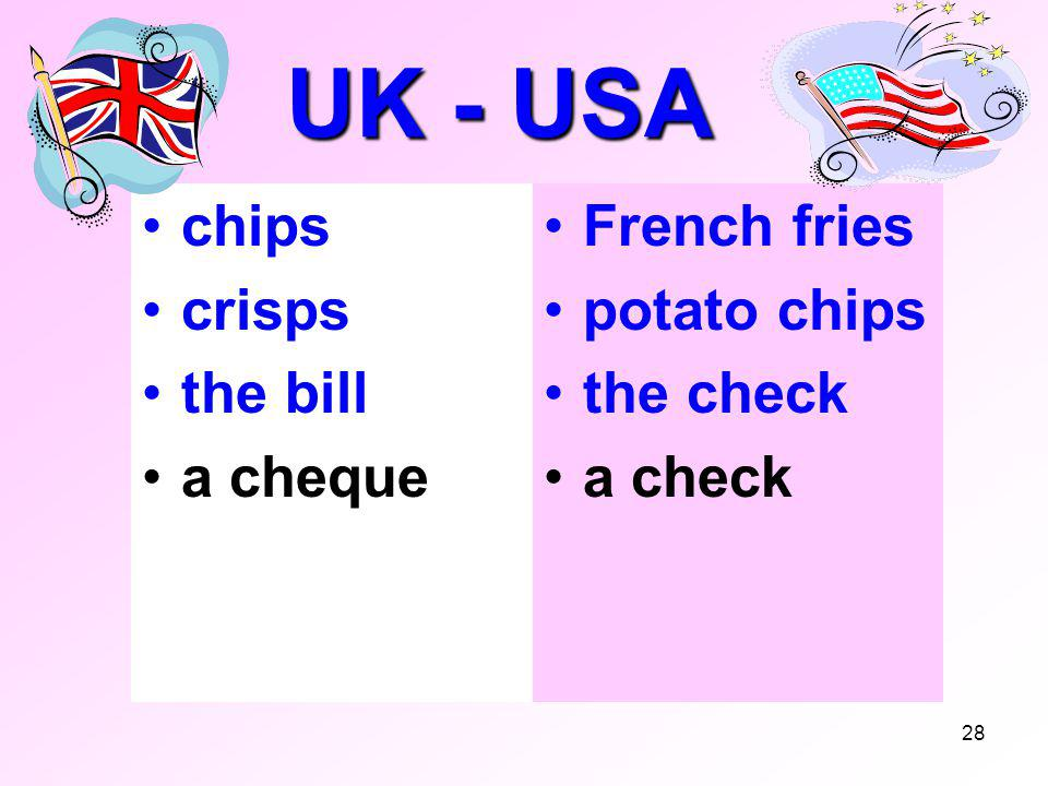 28 UK - USA chips crisps the bill a cheque French fries potato chips the check a check