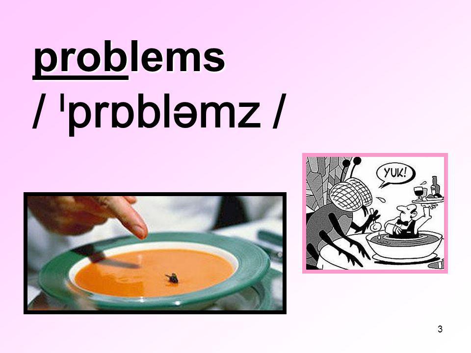 3 problems problems / ˡprɒbləmz /