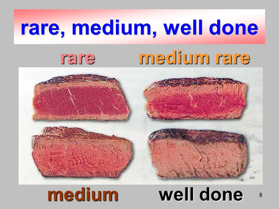 8 rare, medium, well done mediumwell done raremedium rare raremedium rare