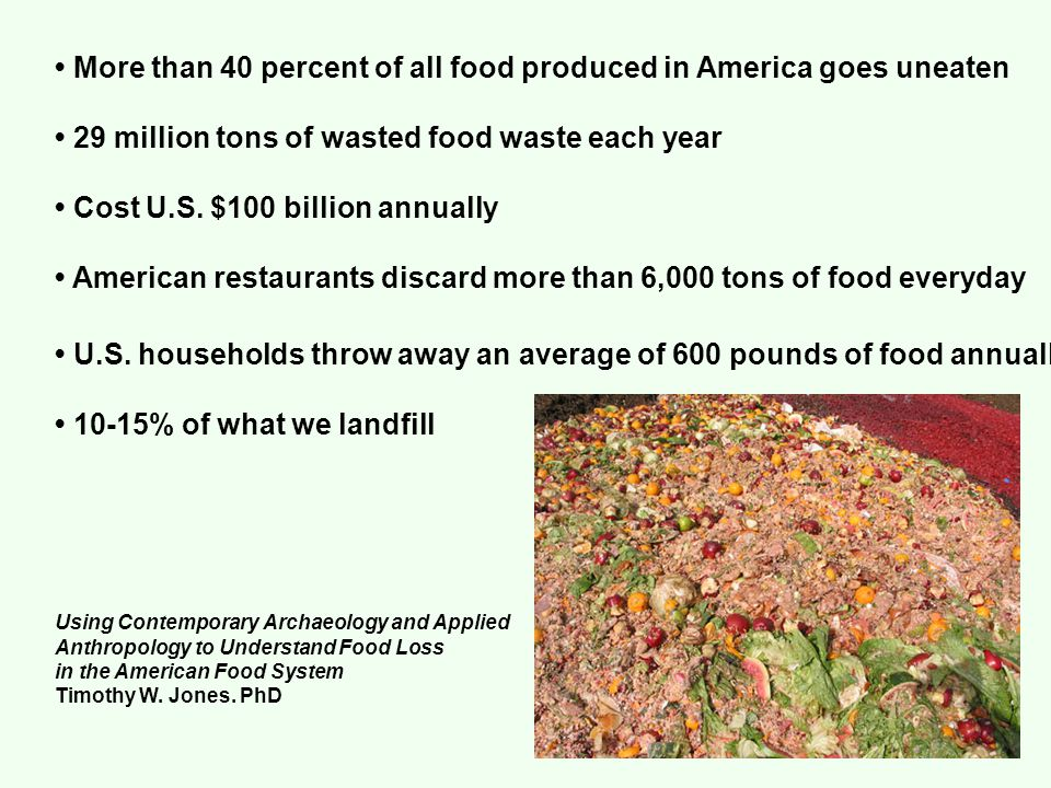 More than 40 percent of all food produced in America goes uneaten 29 million tons of wasted food waste each year Cost U.S.