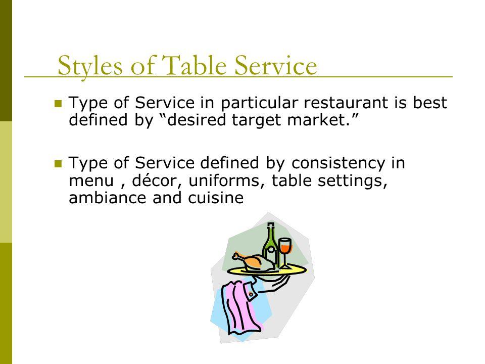Classic Menu Goal is to meet sensory needs of diner.