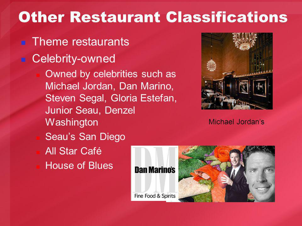 Other Restaurant Classifications Theme restaurants Celebrity-owned Owned by celebrities such as Michael Jordan, Dan Marino, Steven Segal, Gloria Estefan, Junior Seau, Denzel Washington Seaus San Diego All Star Café House of Blues Michael Jordans
