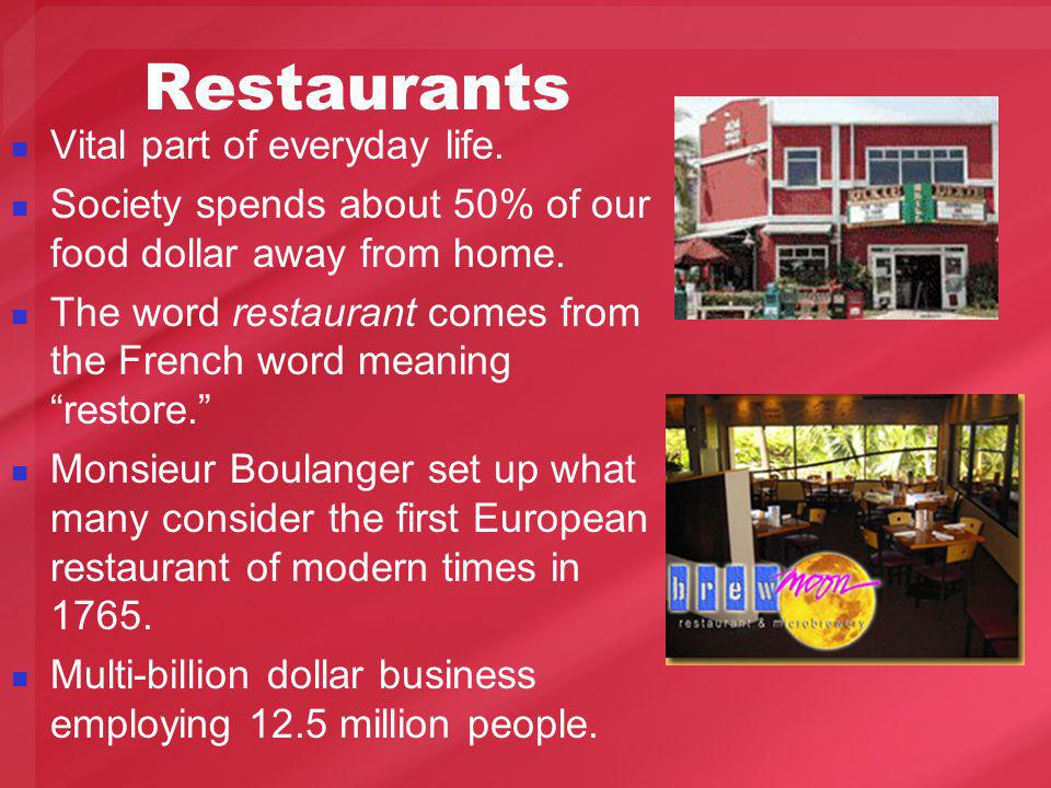 Restaurants Vital part of everyday life.