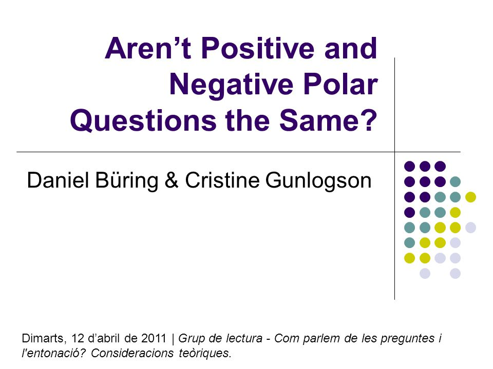 Arent Positive and Negative Polar Questions the Same.
